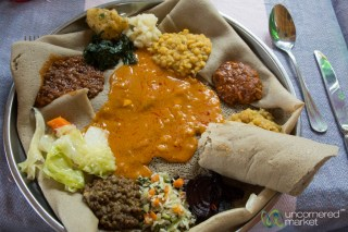 A vegetable platter from the Four Sisters in Ethiopia