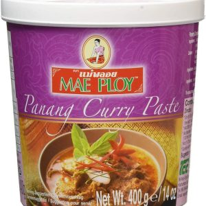 Mae Ploy Panang Curry Paste 400g High quality Panang Curry Paste for your favourite Thai recipes. Buy this item as part of our Thai Box or BYOB (Build your own box).