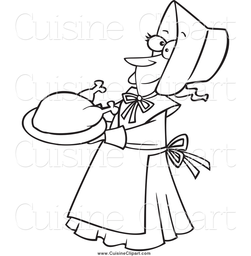 Cuisine Clipart Of A Black And White Happy Lady Pilgrim