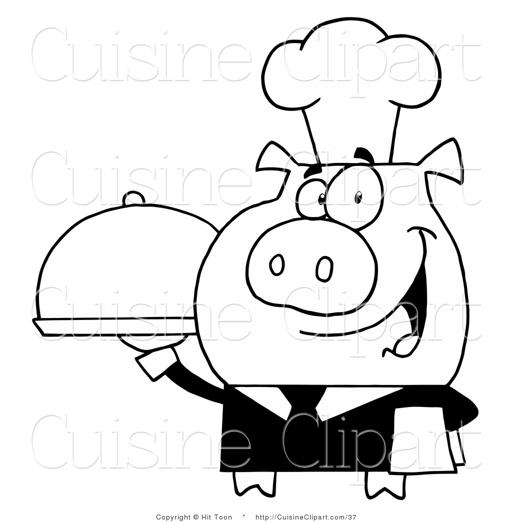 Cuisine Clipart Of A Outlined Waiter Pig Holding A Meal On