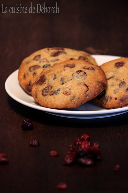 Cookies aux cranberries, raisins blonds et pépites de chocolat