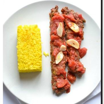 Kebab Tabei ( cuisine Perse) et riz au safran