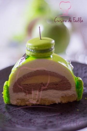 Bûche pomme verte yuzu et chocolat au lait  (1 sur 5)