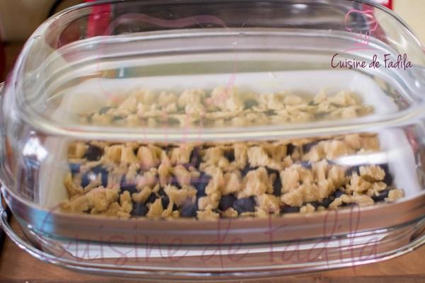 Gâteau aux myrtilles façon crumble