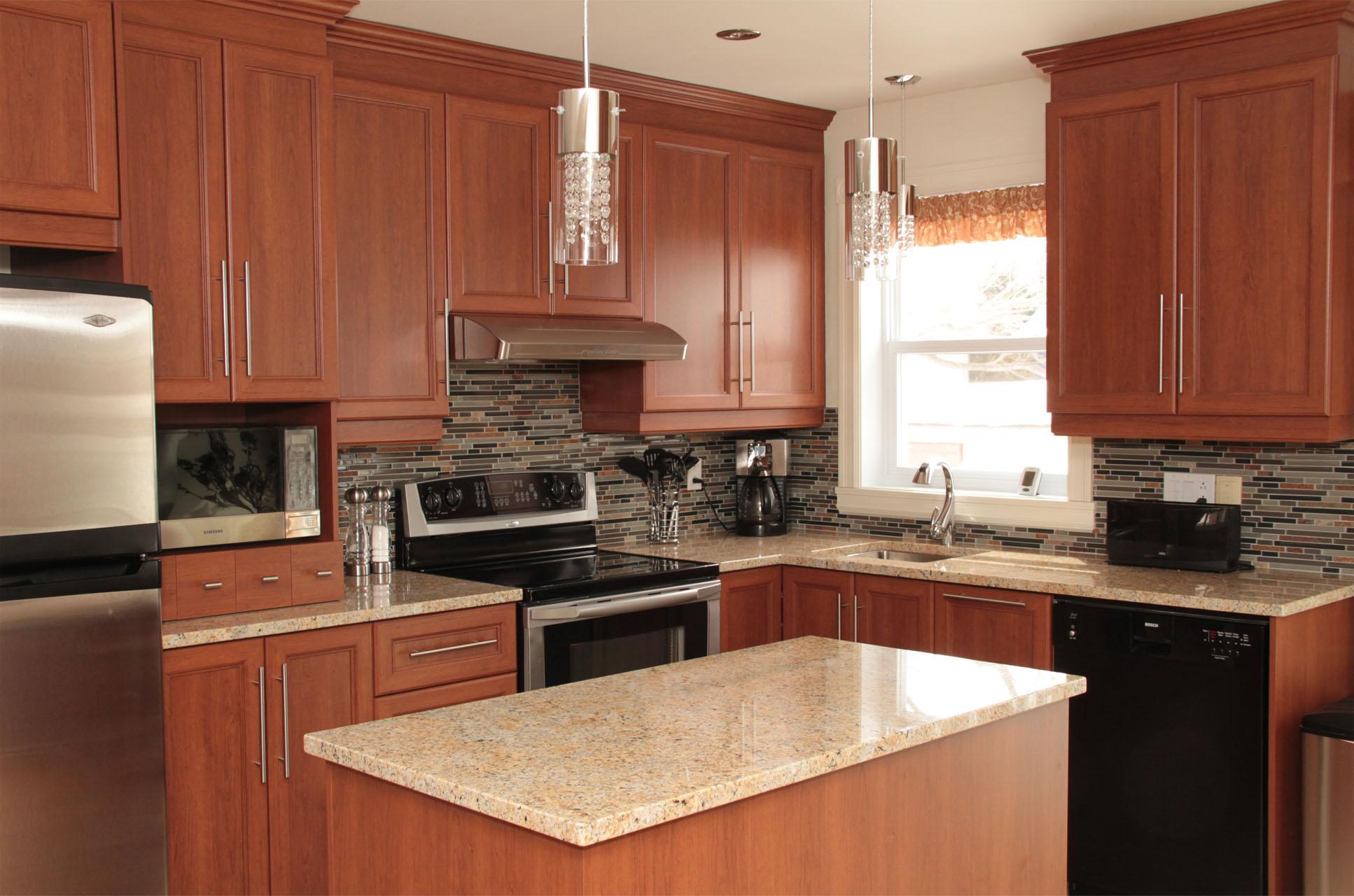 armoires de cuisine de polyester classique