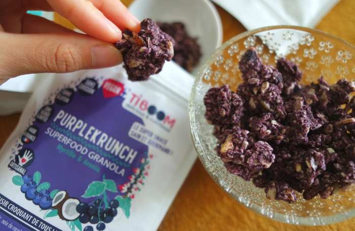 Tiboom granola sans gluten vegan myrtille