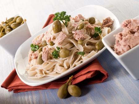 11723946 - tagliatelle with tuna and capers,healthy pasta