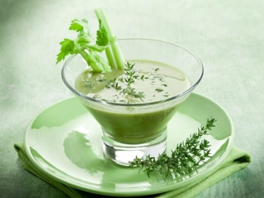 11857147 - celery cream soup with thymus on glass