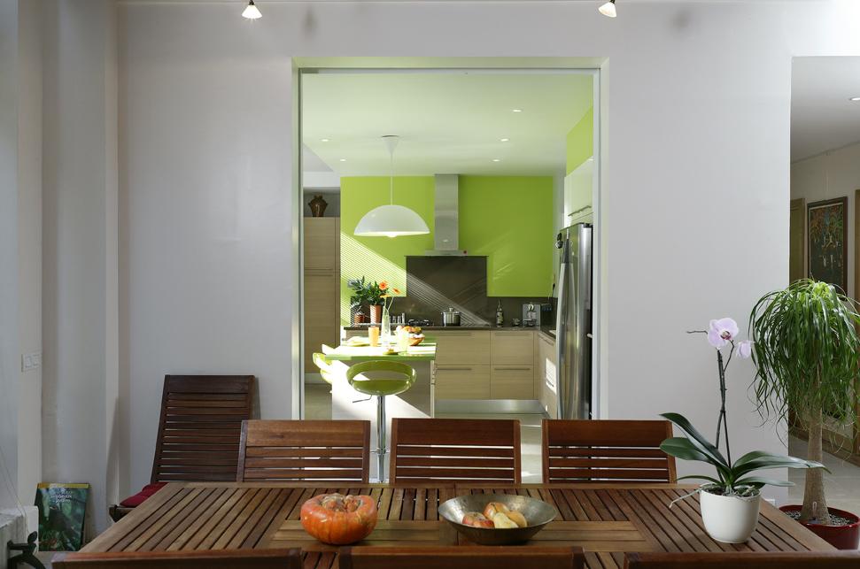 cuisine bicolore verte avec ilot
