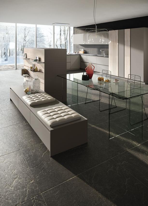 Snaidero cuisine grise en L moderne verrière