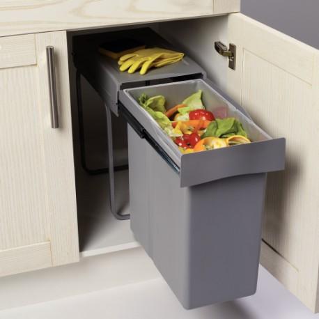 poubelle tri des dechets coulissante 40l monobac