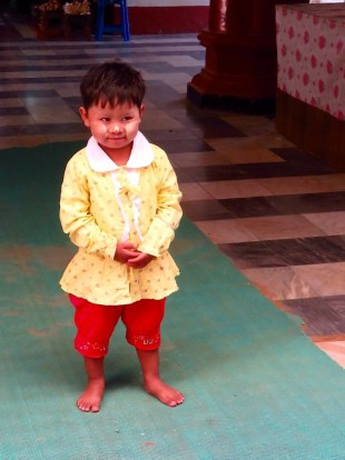 Bagan, Myanmar Ananda Temple, Burmese Boy With Thanaka On Face