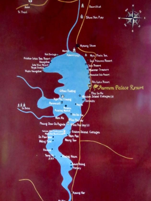 Myanmar–Inle Lake–Map Of The Lake