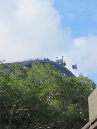 The tiny bulge atop the Sydney Harbor Bridge is a group of climbers!