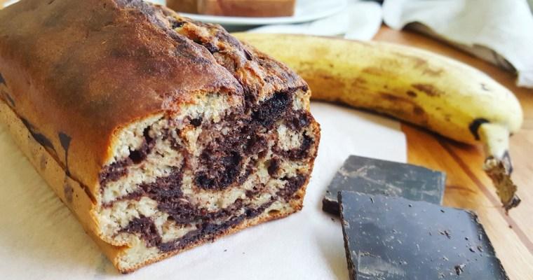 Banana bread (cake à la banane) marbré