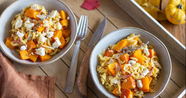 One pot pasta au potimarron, bacon et gorgonzola