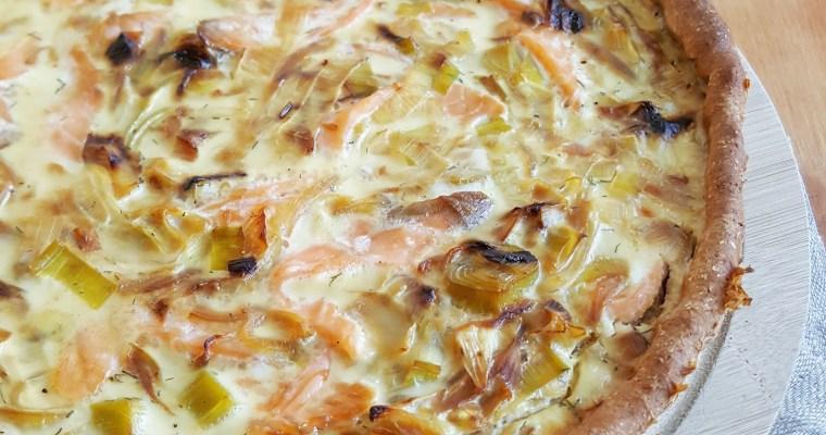Quiche aux poireaux, saumon fumé et ricotta