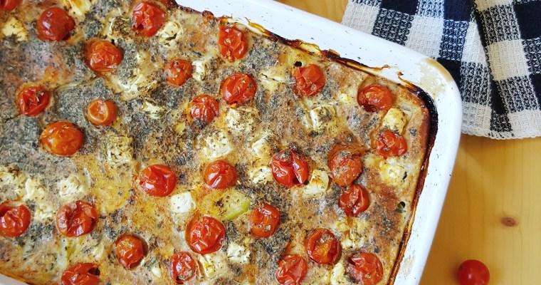 Clafoutis aux courgettes, feta et tomates cerises