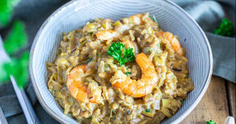 Risotto aux poireaux et crevettes