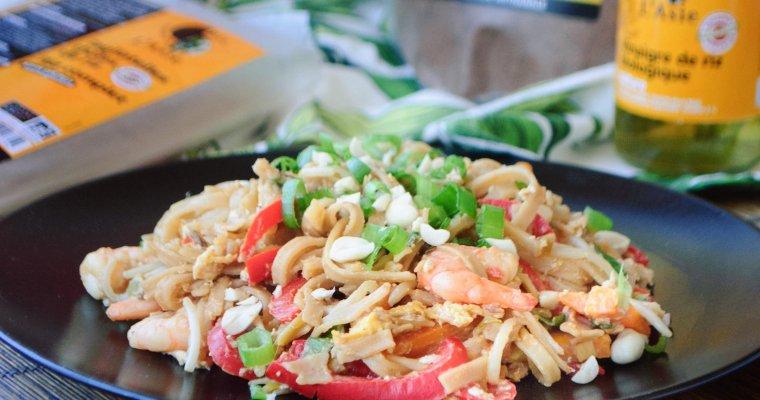 """Pad thaï aux crevettes et nouilles de riz complet """"Autour du Riz"""""""