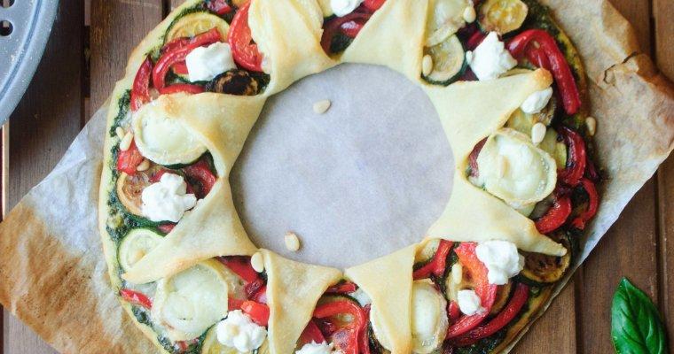 Pizza soleil aux deux chèvres, pesto, courgette et poivron