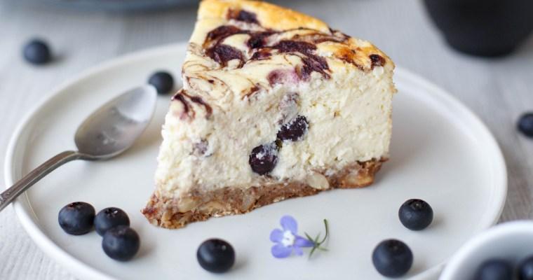 Cheesecake aux myrtilles et au chocolat blanc