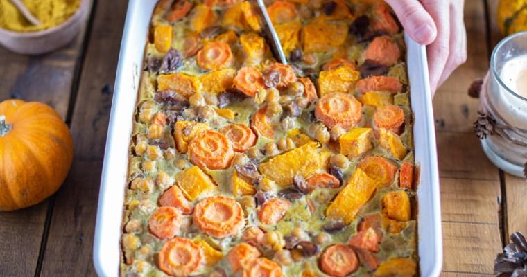 Clafoutis salé au potiron, carotte, châtaigne et pois chiches