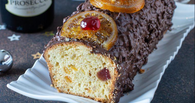 Cake aux fruits confits et son nappage choco-noisette