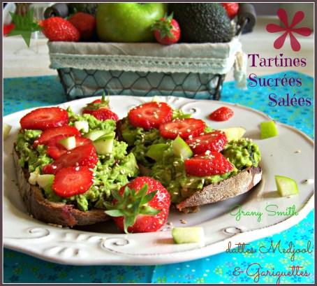 Tartines sucrée salée avocat dattes fraises
