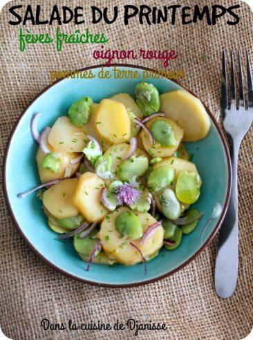 Salade printanière végane : fèves fraîches, pommes de terre primeur et oignon rouge
