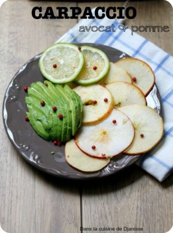 Vegan raw avocado and apple carpaccio