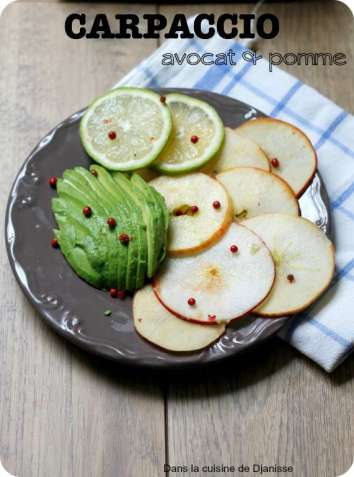 Vegan raw avocado and apple carpaccio