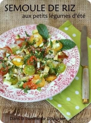 Semoule de riz aux petits légumes d'été (vegan et sans gluten)