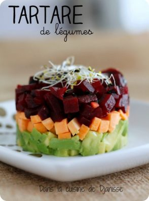 Tartare betterave, patate douce et avocat {vegan}