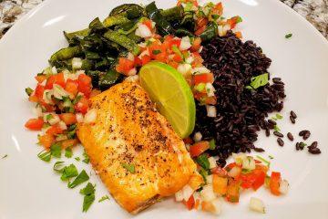 Salmon poblanos black rice pico de gallo