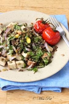 Salade de lentilles, menthe et tofu fumé misspat