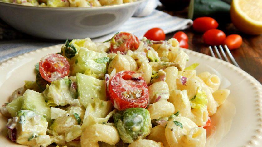 ensalada de pasta fideos palta fresca