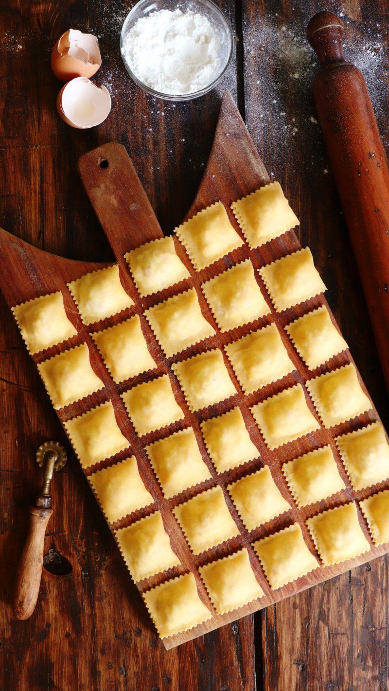 ravioles jamon y queso casero