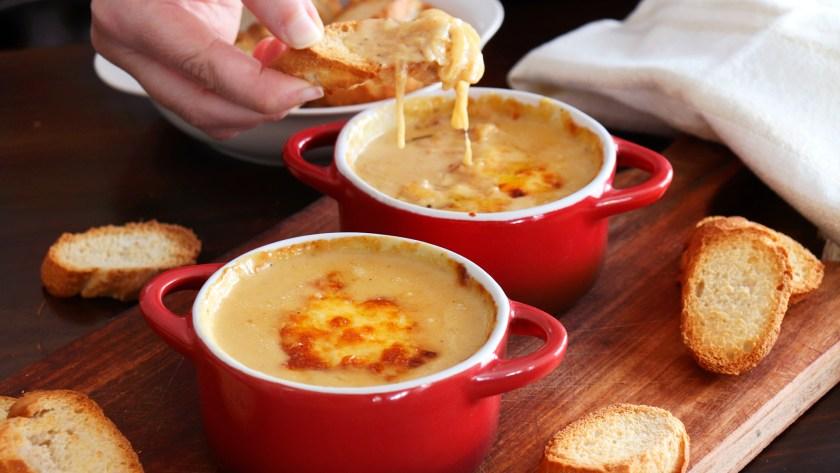 dip de cebolla crema queso facil