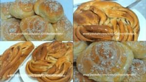 Rosca de canela e pão doce com massa econômica