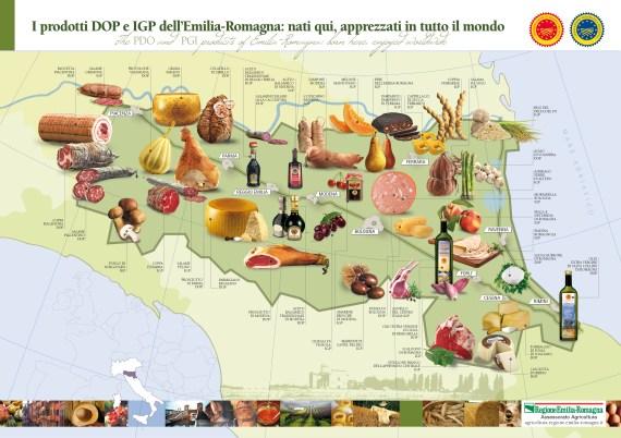 Emilia Romagna tartomány tipikus, DOP-Denominazione di Origine Protetta (oltalom alatt álló), kiválló minősítéssel rendelkező, a világon mindenhol ismert és elismert termékei