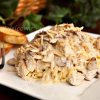 Dijon Chicken Linguine with Crimini Mushrooms & Toasted Almonds