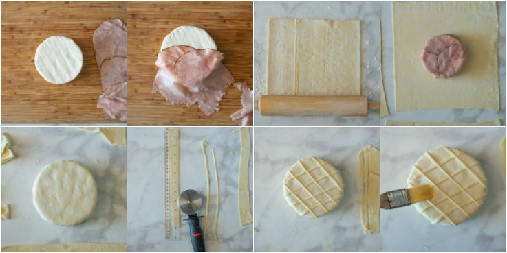 A collage of images showing the steps to making Baked brie and Black Forest ham in puff pastry