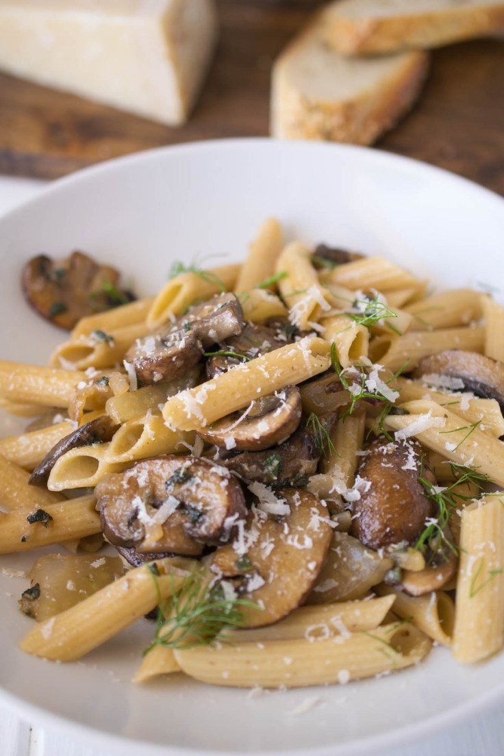 A closeup showing all the meaty mushrooms and pasta