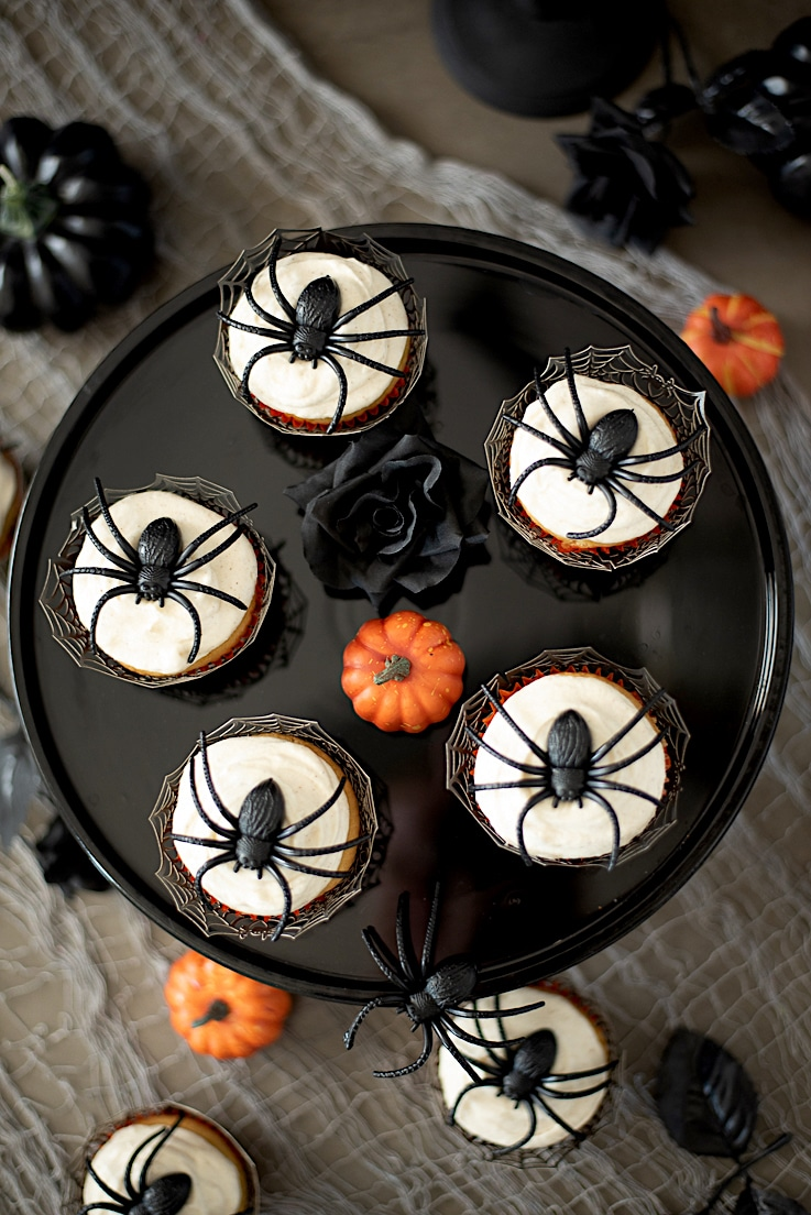 Cupcakes from overhead showing the giant spider decorations