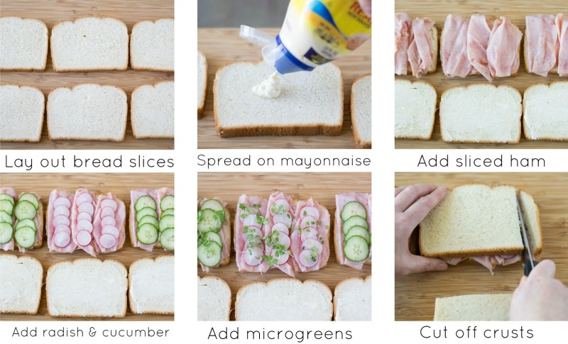Selection of tea sandwiches collage