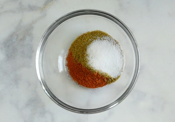 Spices mixed in a glass bowl