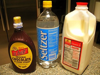 Egg Cream Ingredients: U-Bet Chocolate Syrup, Whole Milk, and Seltzer