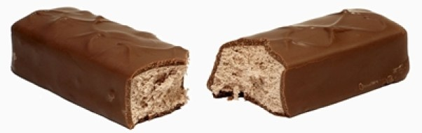 3 Musketeers Bar split in half, isolated