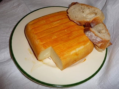 A square of Vieux Boulogne cheese.
